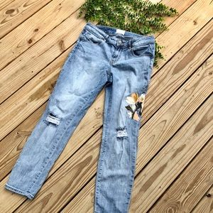 Caslon Distressed Floral Embroidery skinny jeans